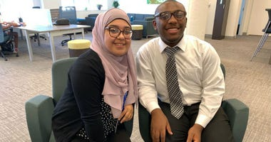 Doha Ibrahim and Imere Williams, the school board's new non-voting members.