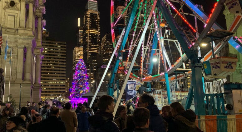 The Christmas festival around Philadelphia City Hall.