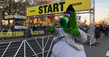 The Phillie Phanatic, dressed as Rocky Balboa, at the starting line for the Rocky Run.