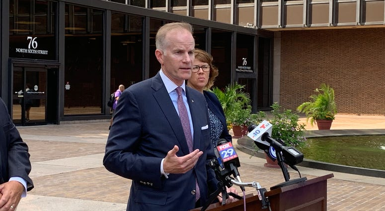 U.S. Attorney Bill McSwain speaks outside of the federal courthouse in Philadelphia.