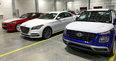 Cars at the Port of Philadelphia's new Southport Terminal.