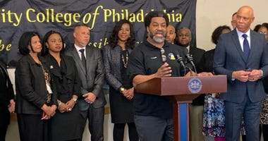A news conference at Community College of Philadelphia discusses a shortage of teachers of color in the state.