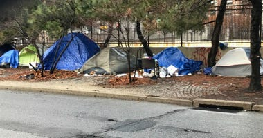 Tent city at 18th and Vine streets.