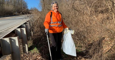 Kelly McDowell is a one-woman cleanup crew picking up litter along Chester County roads.