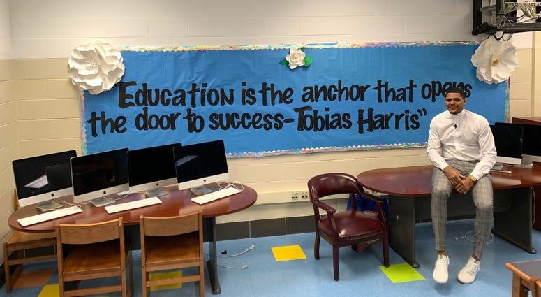 Sixer Tobias Harris visits teachers at Bethune Elementary in Philadelphia.