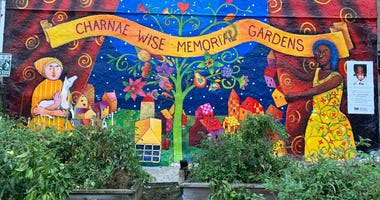 The Charnae Wise Memorial Gardens at 30th and Harper streets, with a recently refurbished mural honoring the young girl who died of neglect in 1997.