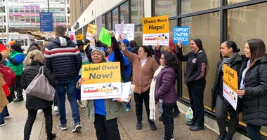 Charter school advocates protest governor's budget proposal
