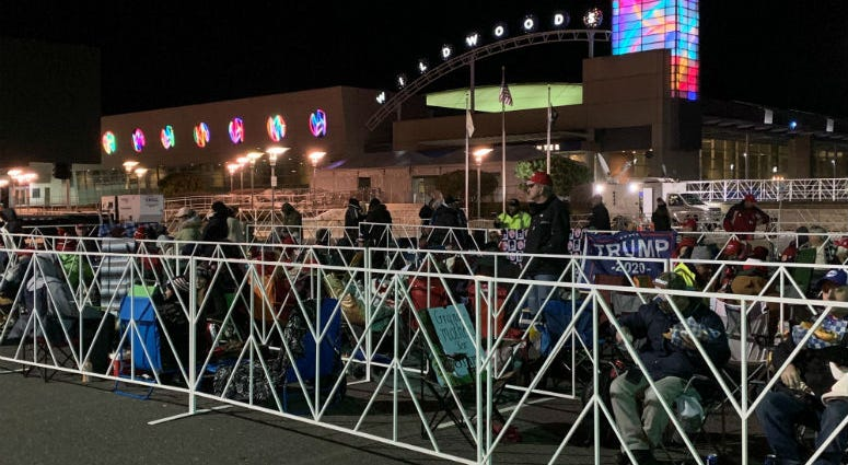People camp out outside the Wildwoods Convention Center, waiting for President Trump's visit.