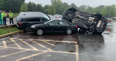 Tropical Storm Isais overturned cars at Doylestown Hospital