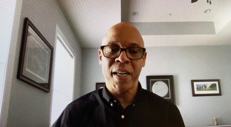 Superintendent William Hite talks to reporters in a Zoom video conference call