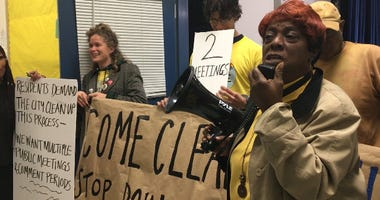 Residents in Point Breeze protested a meeting discussing Sunoco's Philadelphia Energy Solutions Refinery clean up program.