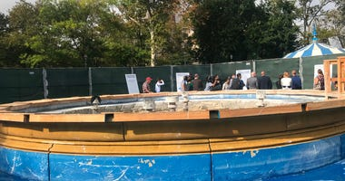 The Franklin Square fountain is currently under renovations.