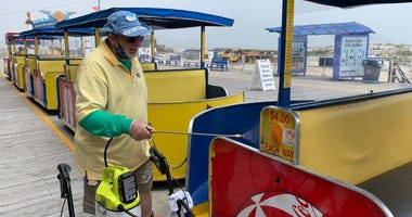 A Tram Car being cleaned in Wildwood