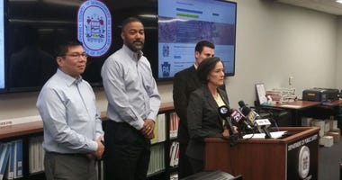 Montgomery County officials, including Board of Commissioners Chair Dr. Val Arkoosh (center right), brief the public on the latest coronavirus updates.