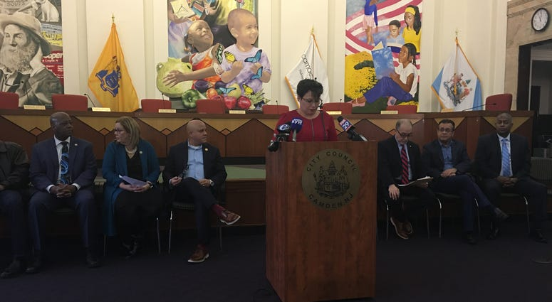 Camden County Freeholder Carmen Rodriguez speaks about New Jersey For Puerto Rico Relief.