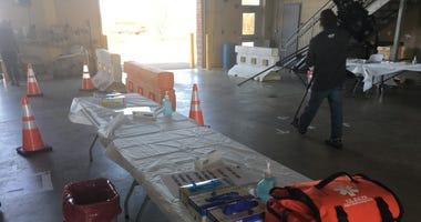A coronavirus testing site set up in Burlington County.