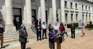 Dr. Joan Duvall Flynn at the announcement that Delaware County is creating a criminal justice reform task force
