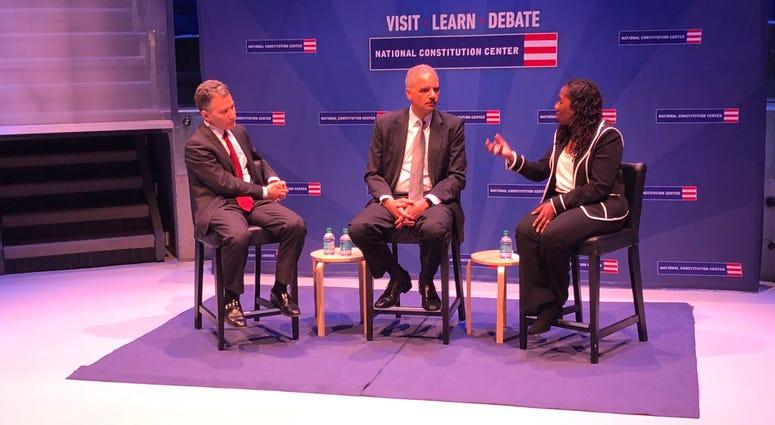 From left: Jeffrey Rosen, Eric Holder and Sherrilyn Ifill