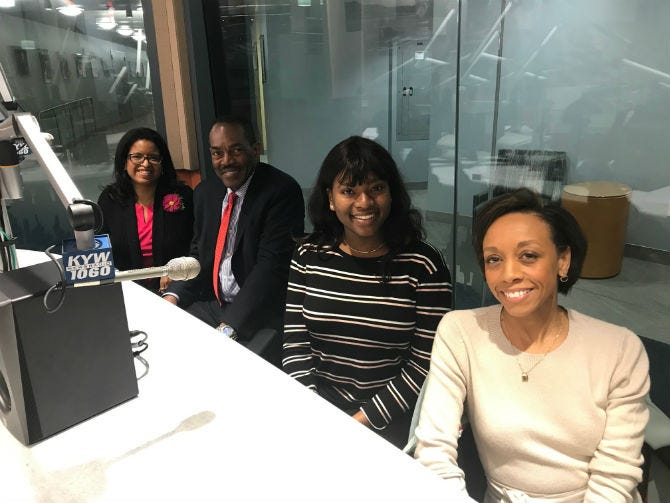 Farah Jimenez, CEO of Philadelphia Education Fund joins Rodney Muhammad, president of the Philadelphia NAACP; Kimberly Lewis, outreach and engagement director at Philadelphia Futures and Ester Flavia, a first generation college student who is a junior at