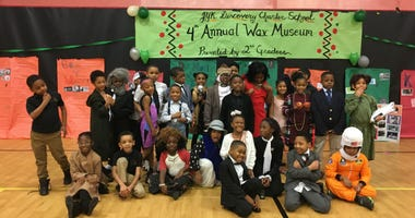 "Students at a Philadelphia elementary school celebrate Black History Month with the creation of a so-called ""living wax museum."""