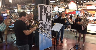 The Philadelphia Orchestra offered a lunchtime surprise a Reading Terminal Market Monday, featuring a brass quartet.