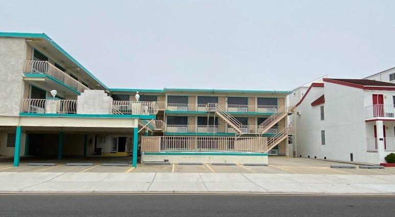 Empty motel parking lots in the Wildwoods