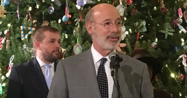 From left: Republican State House Marjority Leader Bryan Cutler and Gov. Tom Wolf