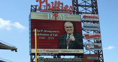 Phillies employees, fans and current and former players gathered at Citizens Bank Park Thursday afternoon to remember team chairman David Montgomery, who died in May at the age of 72.