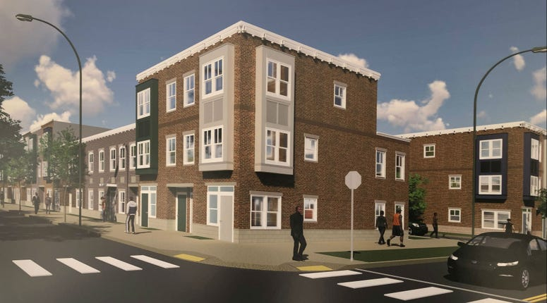 A rendering of one of the apartment buildings as part of the 10-year transformation of the Sharswood/Blumberg neighborhood.