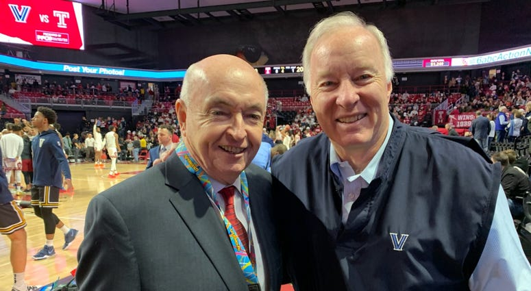 Harry Donahue (left) with Villanova color commentator Whitey Rigsby, at the Temple-Villanova basketball game on Sunday, at the Liacouras Center