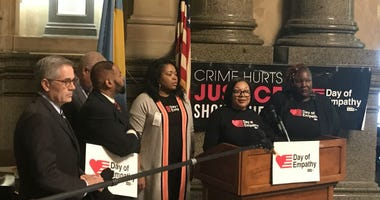 To show support for people serving life sentences, Carrington joined Tonie Willis with the organization Cut 50 at city hall Tuesday for Philadelphia's Day of Empathy.