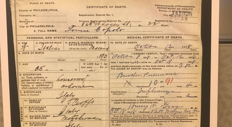 A death certificate for a flu victim during the 1918 pandemic, on display in a new exhibit at the Mütter Museum.