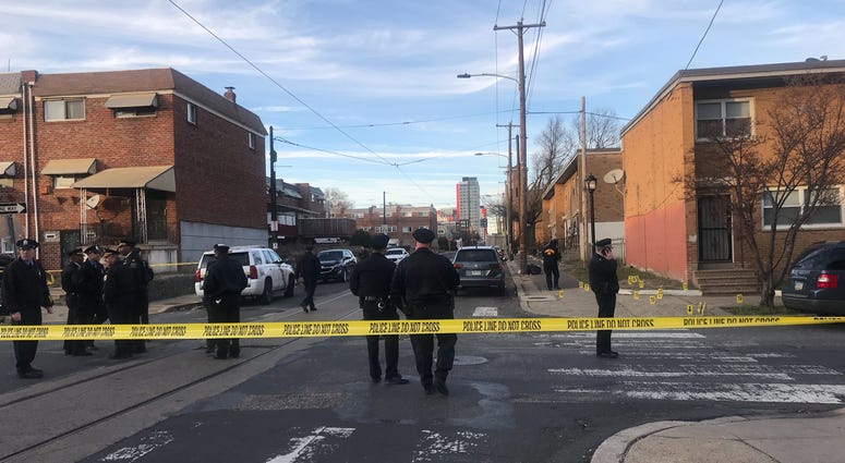 Police at in North Philadelphia after a shooting.