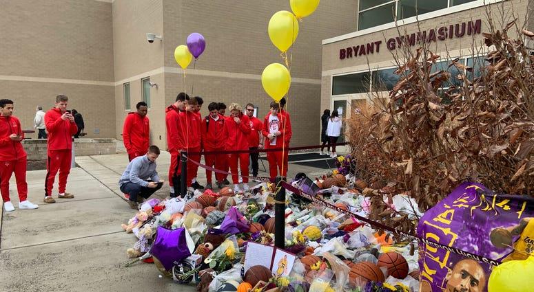 Growing Kobe Bryant memorial outside of Lower Merion High School.