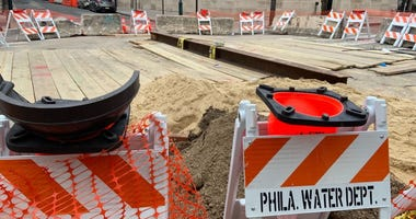 Repair work on Third and Arch Streets after a water main break in January.