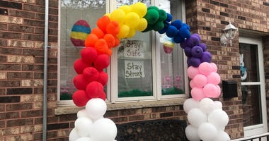The Snyder family created a balloon arch as well as an Easter egg display to thank essential workers.