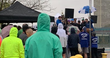 Officials and guests at the Run for Blue 5K, benefiting the Philadelphia Police Foundation.