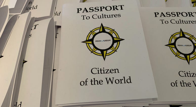 Mock passports given to kids at the Penn Museum as part of an event about holiday celebrations across the globe