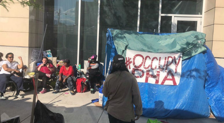 #OccupyPHA protestors at the Philadelphia Housing Authority headquarters.