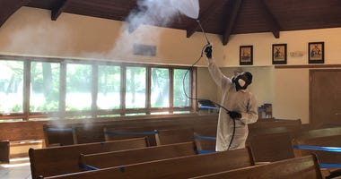 National Restoration wet-fogs a New Jersey church preparing to open after stay-at-home orders are lifted in the state.
