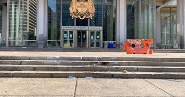 Frank Rizzo statue is removed from Municipal Services Building