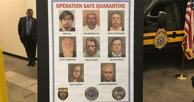 """Operation Safe Quarantine"" poster shows eight men arrested in child porn crack down"