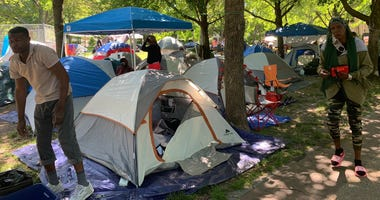 A tent encampment along the Ben Franklin Parkway has also come to double as a protest against housing inequities.