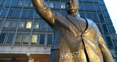 Vandalism at the Frank Rizzo statue in Center City.