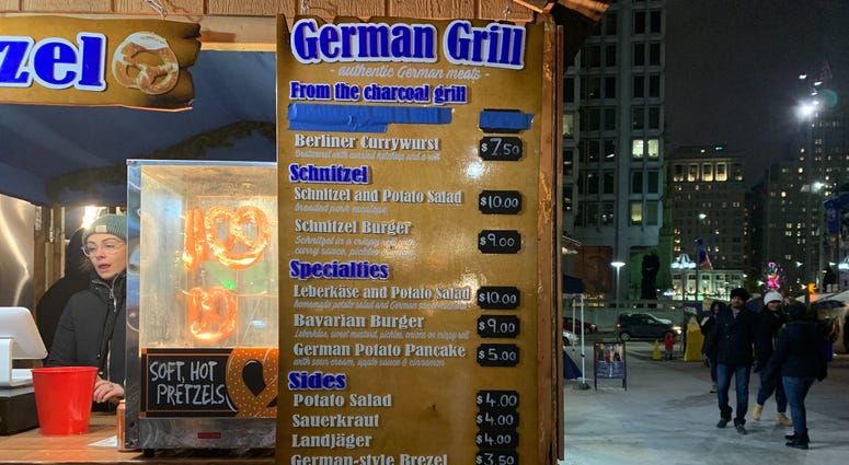 The German Grill booth at Christmas Village is one spot where German street cuisine can be found.