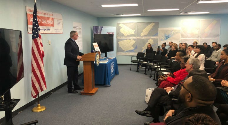 Dozens packed into a room in the U.S. Census office at 615 Chestnut Street to mark the opening of the federal headquarters for Philadelphia operations of the U.S. Census.