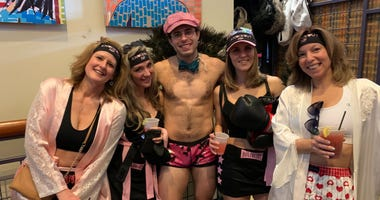 A group taking part in Cupid's Undie Run, a fundraiser for the Children's Tumor Foundation