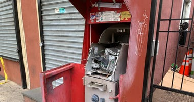 A partially exploded ATM at 2nd Street and Susquehanna Avenue