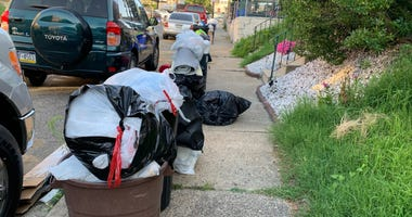 Curbside trash for collection in Philadelphia