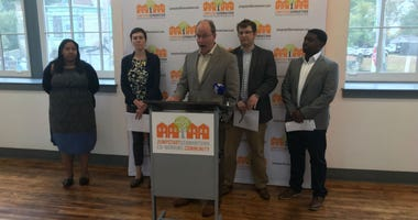 Ken Weinstein, founder of Jumpstart Germantown, speaking at a press conference.